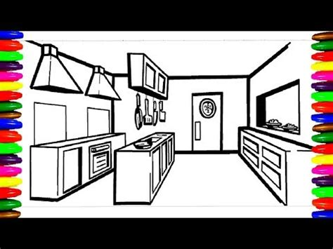 draw  color kitchen room kitchen utensils coloring pageschildren learning colors