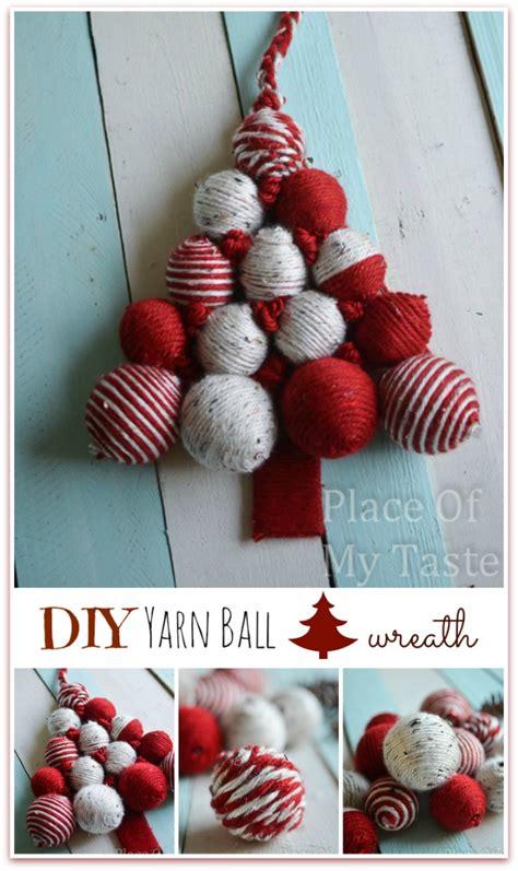 diy yarn ball christmas tree wreath