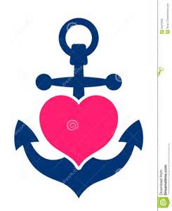 ancre marine bleue avec un coeur illustration de