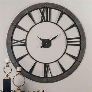 Ronan Rustic Bronze Large Wall Clock Uttermost Wall Mounted Clock Clocks Home Decor
