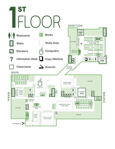 library floor plans university  hawaii manoa library