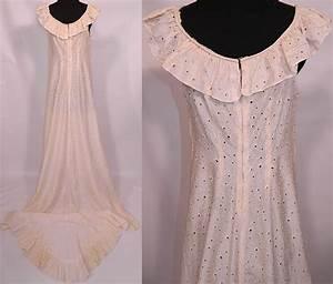 vintage eyelet cream silk hawaiian muumuu wedding gown With vintage hawaiian wedding dress
