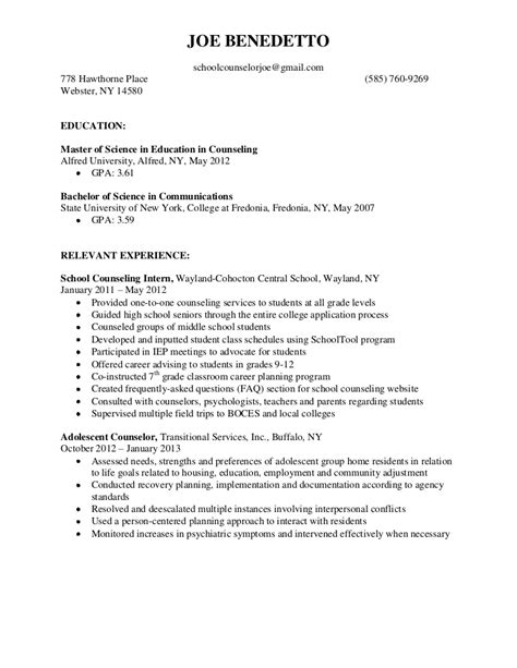 Guidance Counselor Resume Objective by Sle School Counselor Resume Free Resumes Tips