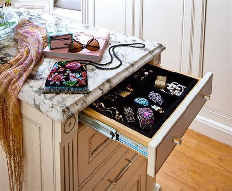 closet island with jewelry drawer transitional closet