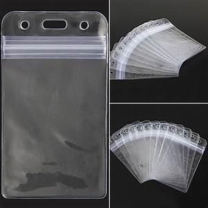 10Pcs Vertical Transparent Vinyl Plastic Clear ID Card ...