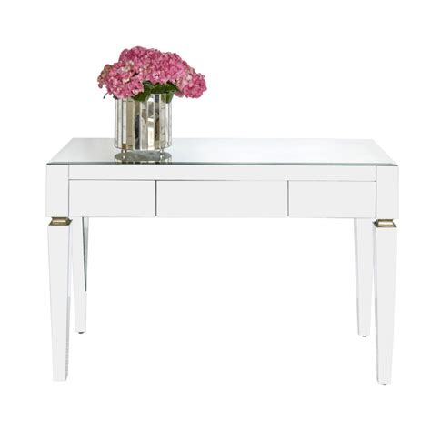 desk with drawers and mirror worlds away jacklyn beveled mirror 3 drawer desk