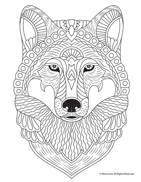 Wolf Adult Coloring Page | Animal coloring pages, Mandala