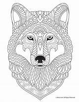 Coloring Wolf Adult Printable Animals Mandala Cool Mandalas Woojr Drawing Dog sketch template