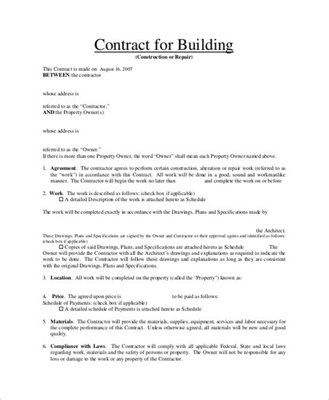 Building Contracts Template Building Contract Sle Safero Adways