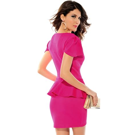 neck peplum dress  hot pink everyday sweetheart