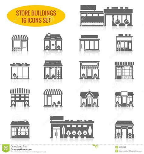 store building icons set black stock vector image