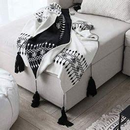 blanket black  white bohemian knit throw blanket