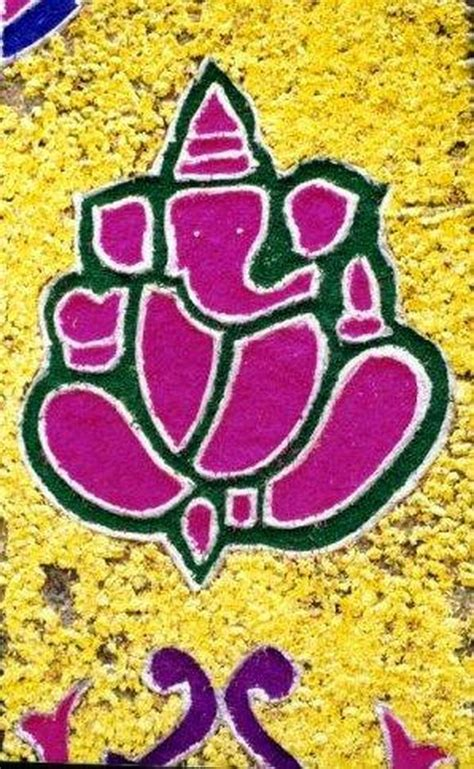 ganpati rangoli designs  flowers ganesha flower