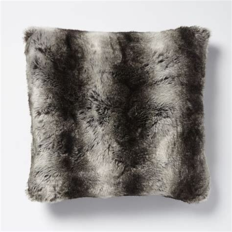 gray fur pillow faux fur ombre pillow cover gray west elm