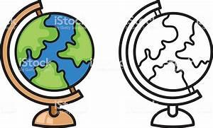 Planisphère Noir Et Blanc : en couleur et noir et blanc de la terre globe pour livre de coloriage cliparts vectoriels et ~ Melissatoandfro.com Idées de Décoration