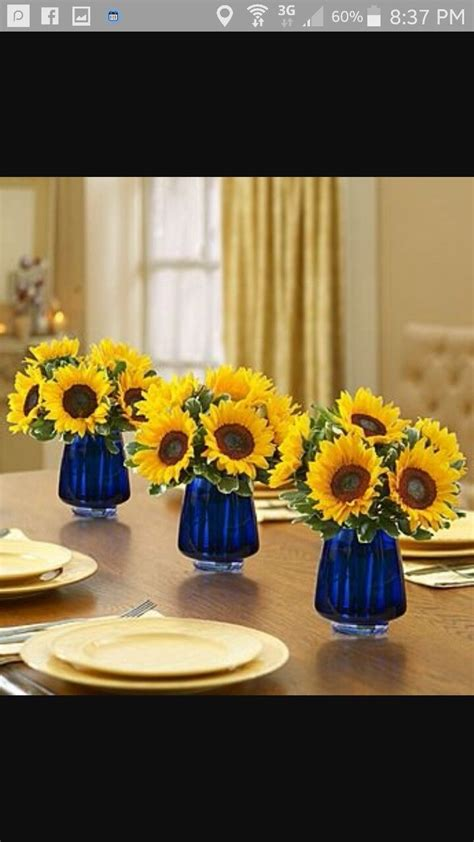 center pieces   navy  sunflower idea sunflower