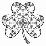 Coloring Shamrock Patrick Irish Printable Adults 101coloring sketch template