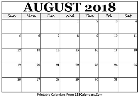 august calendar template calendar august 2018 printable pdf word excel template