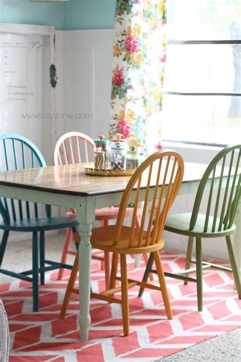 painting kitchen table and chairs different colors american chalky paint tutorial chalky paint colorful