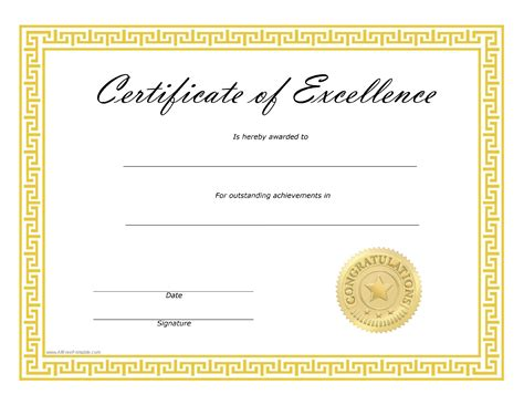 Free Certificate Of Excellence  Templates At