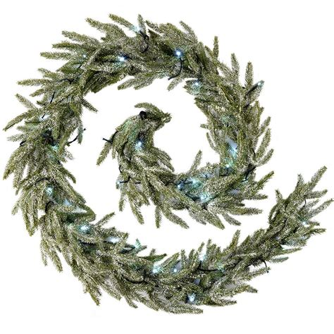 frosted pre lit fir garland illuminated   white led