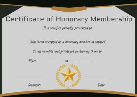 honorary life membership certificate template