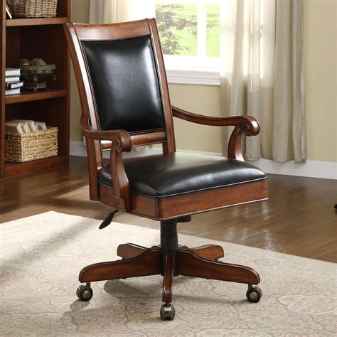 wood and leather desk chair caster equipped wooden desk chair with leather covered