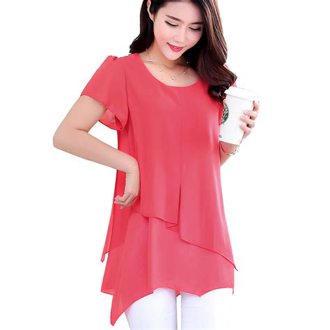 womens plus blouses tops summer style sleeve vintage chiffon