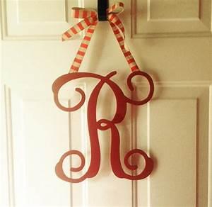 23 huge circle script wood monogram door by rockfarmboutique With letter door hanger