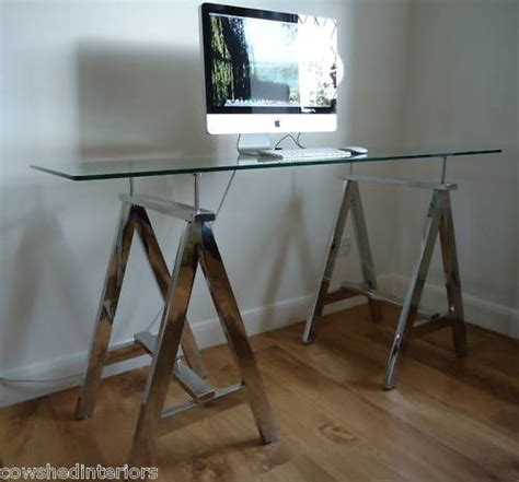 glass top trestle desk details about chrome a frame glass top trestle console table desk tops table desk and