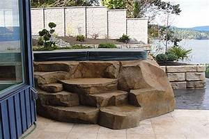 Hand, Carved, Concrete, Spa, Steps, Faux, Stone