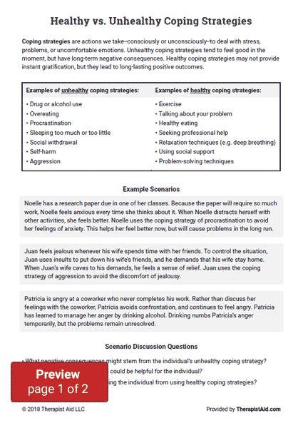 healthy  unhealthy coping strategies worksheet