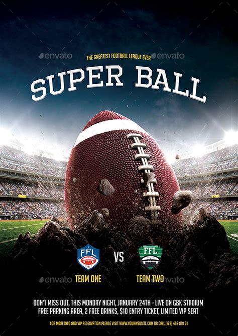 super ball football flyer template  bornx graphicriver