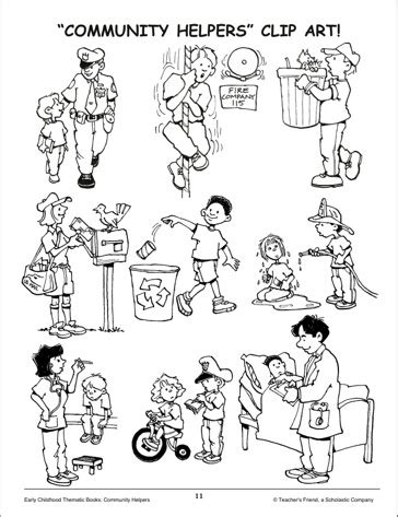 11418 community helpers clipart black and white community helpers clipart 85