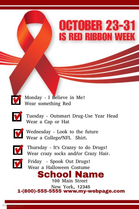 red ribbon week template postermywall
