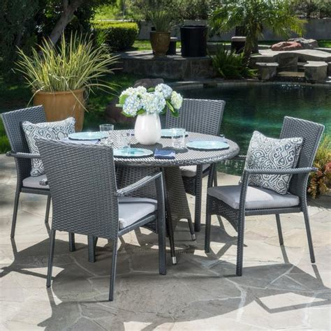 oxford outdoor 5 grey wicker dining set with
