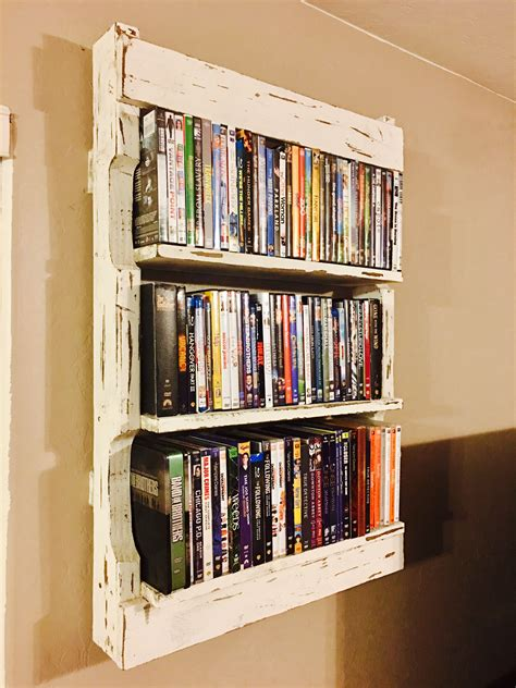 Diy Rustic Wall Pallet Shelves For Dvds Easy Under