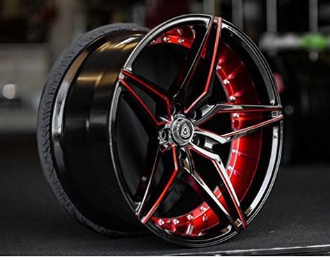 staggered rims black  red full set   wheels   max performance racing wheels  challenger mustang camaro bmw