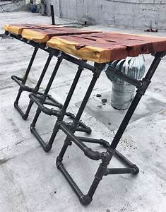Iron Pipe Barstools with Live Edge Wood Seats Live edge