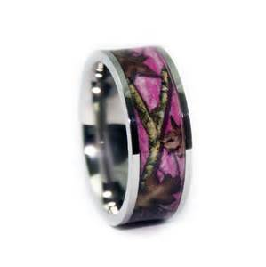 realtree wedding bands pink camo wedding rings flat titanium camouflage band by