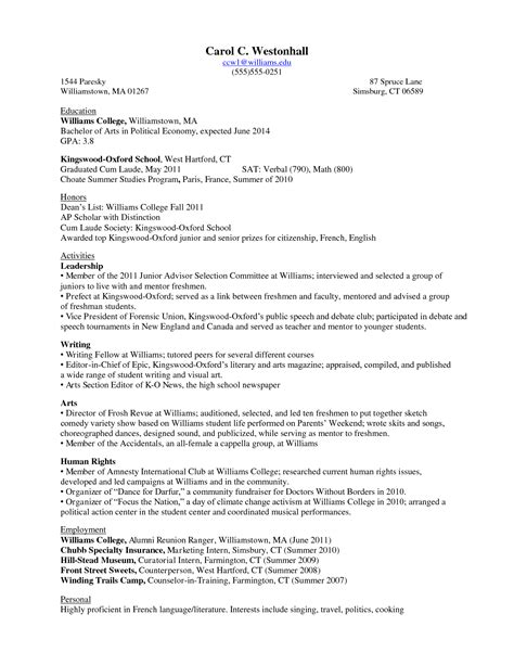 College Student Resume Exles 2015 by College Resume Best Template Collection