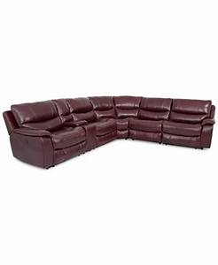 Daren leather 6 piece power reclining sectional sofa with for Daren leather 6 piece power reclining sectional sofa with 3 power recliners