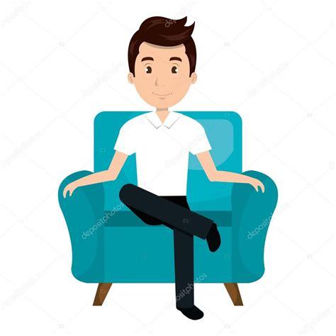 Avatar Man Cartoon Sitting On Couch — Stock Vector