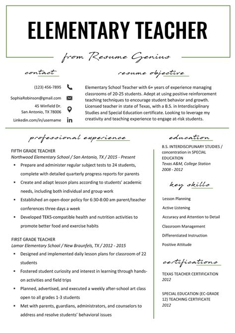 Resume Template For Teachers by Elementary Resume Sles Writing Guide Resume