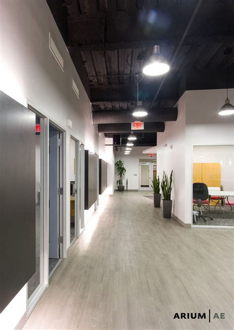 Corridor in an office space, with black laminate accent
