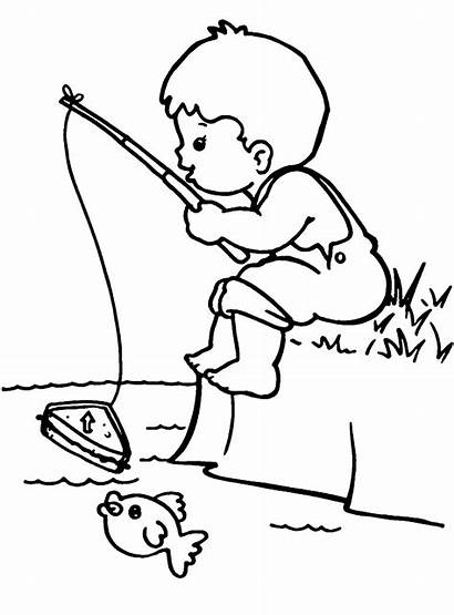 Fishing Coloring Fish Children Boy Boys Outlines