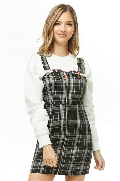 Forever 21 Synthetic Women's Check Overall Dress - Lyst