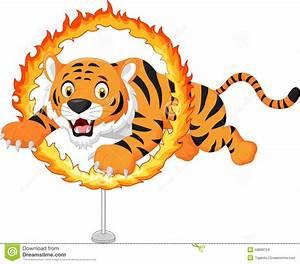 Cartoon Circus Lion Jumping Through Fire