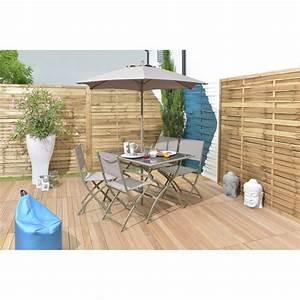 Salon De Jardin Pliant : salon de jardin pliant izmir taupe salon de jardin table ~ Teatrodelosmanantiales.com Idées de Décoration