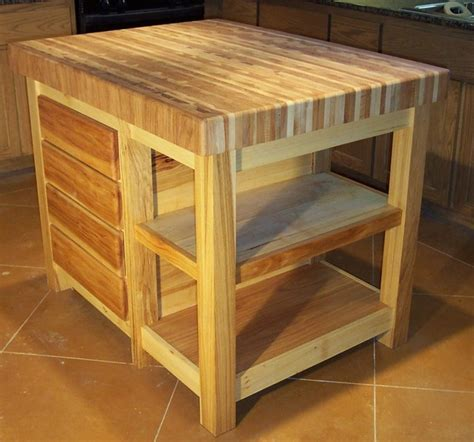 Pecan Butcher Block Center Island   Traditional   Kitchen